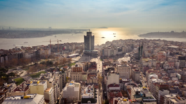 aerial panoramic hyperlapse of taksim square - istanbul - istanbul stock videos & royalty-free footage