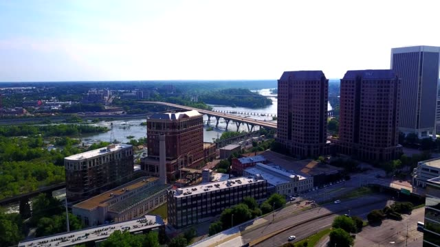 aerial panoramic of downtown richmond - richmond virginia stock videos & royalty-free footage