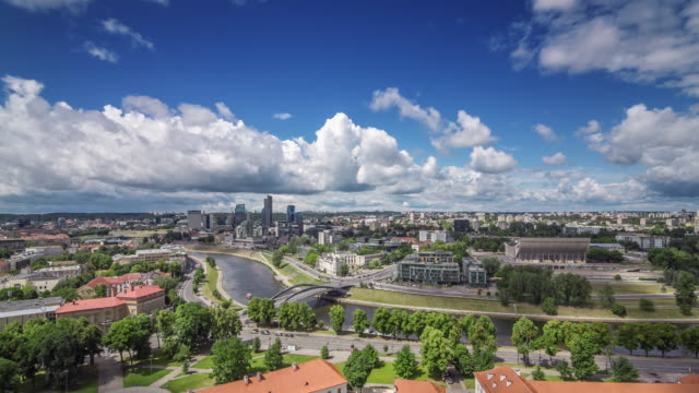 Aerial panoramic timelapse of Vilnius, Lithuania.