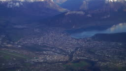 Aerial panoramic view of Annecy city and MontBlanc in background