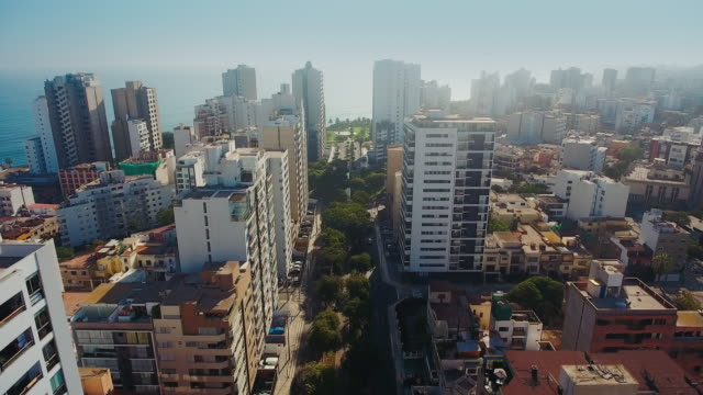 aerial panoramic view of miraflores district in lima, peru. - lima stock videos & royalty-free footage