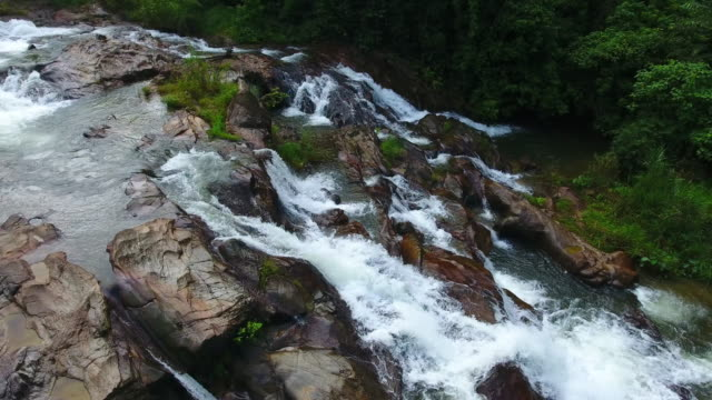 aerial panoramic view of rainbow waterfall at south thailand - krabi province stock videos & royalty-free footage
