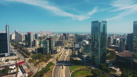 vídeos y material grabado en eventos de stock de vista panorámica aérea del distrito financiero de san isidro en lima, perú. - hispanoamérica