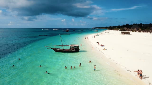 aerial/ paradise beach, zanzibar - tanzania stock videos & royalty-free footage