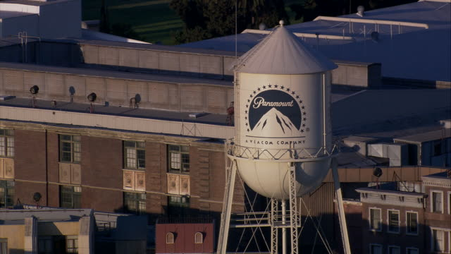 Aerial CU Paramount Water Tower and Studios backlot at Paramount Studios / Hollywood, California, United States.