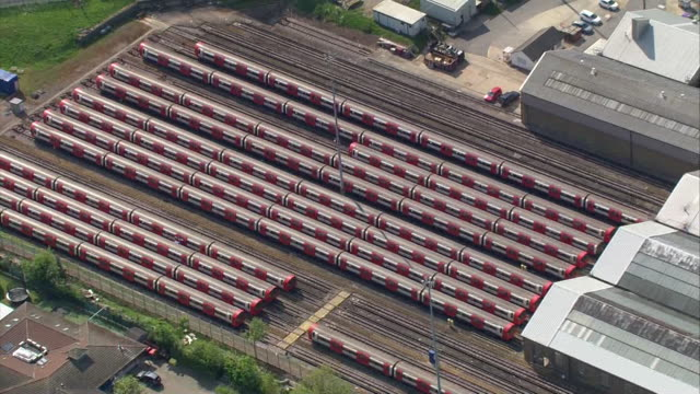 aerial parked trains during coronavirus lockdown - stationary stock videos & royalty-free footage