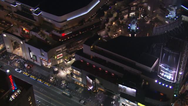 Aerial MS TS past Kodak Theatre, Hollywood Boulevard, California, United States