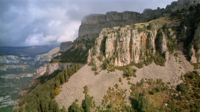 aerial past pine tree-covered mountain / spain - altopiano video stock e b–roll