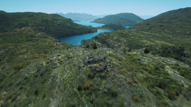 stockvideo's en b-roll-footage met aerial patagonian landscape with lakes - color negro
