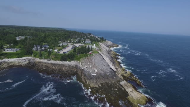 aerial, pemaquid point lighthouse in maine - maine stock videos & royalty-free footage