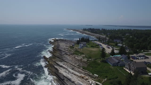 aerial, pemaquid point lighthouse in maine - personal land vehicle stock videos & royalty-free footage