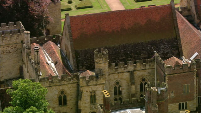 Aerial Penshurst Place and Gardens / Penshurst, Kent, England