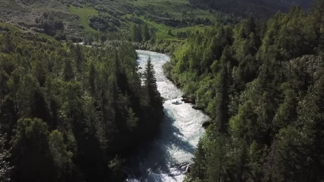 aerial: people river rafting in white water rapids - chugach national forest stock videos & royalty-free footage