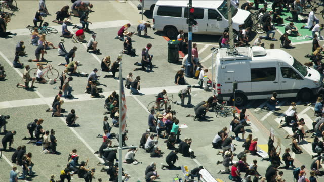 aerial people taking a knee blm protest america - social movement stock videos & royalty-free footage