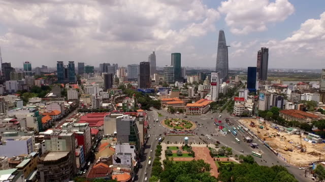 aerial perspective above downtown district in saigon,vietnam - vietnam bildbanksvideor och videomaterial från bakom kulisserna