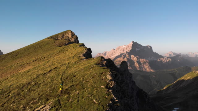 aerial perspective over majestic dolomite views - majestic stock videos & royalty-free footage