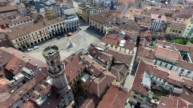 stockvideo's en b-roll-footage met aerial perspective over piazza cavour and italian-architectural residences surroundings in rome, italy - nationaal monument beroemde plaats