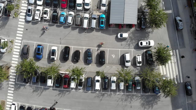 aerial photo above parking - parking stock videos & royalty-free footage