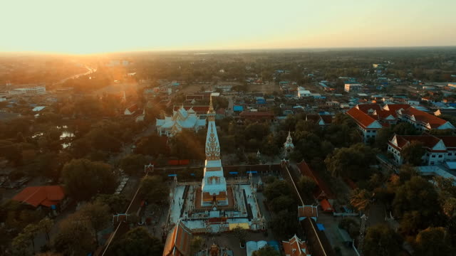Aerial photograph Landmark temple thailand Wat Phra That Phanom in Thailand