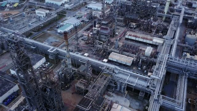Aerial photographs of oil refineries plants, gas tank, oil tank, Chemical  tank, refinery industry power investment business concept.