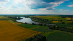 Aerial photography, lake, field, village