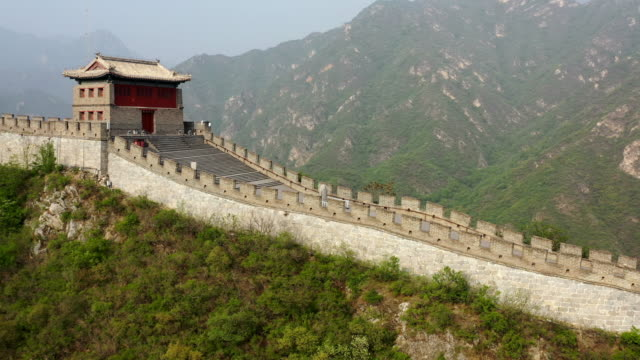 aerial photography of great wall in beijing - great wall of china stock videos & royalty-free footage