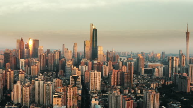 aerial photography of guangzhou city architecture - tower stock videos & royalty-free footage