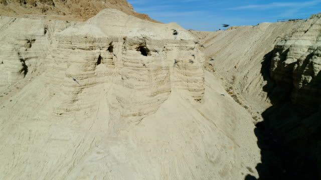 aerial photography of qumran caves - cave stock videos & royalty-free footage