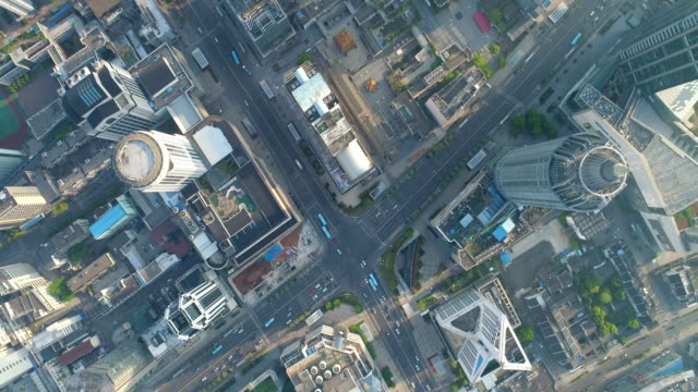 aerial photography of wuxi center - road junction stock videos & royalty-free footage