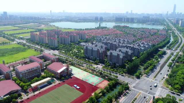 aerial photography suzhou industrial park - high speed photography stock videos & royalty-free footage