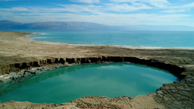 aerial photography- the dead sea and sinkholes on its beaches - israel stock videos & royalty-free footage
