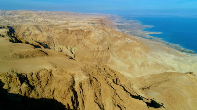 aerial photography- the dead sea and the judean desert - dead sea stock videos and b-roll footage