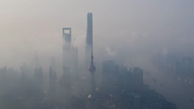 aerial photography time-lapse photography of shanghai's foggy weather skyline - downtown district stock videos & royalty-free footage