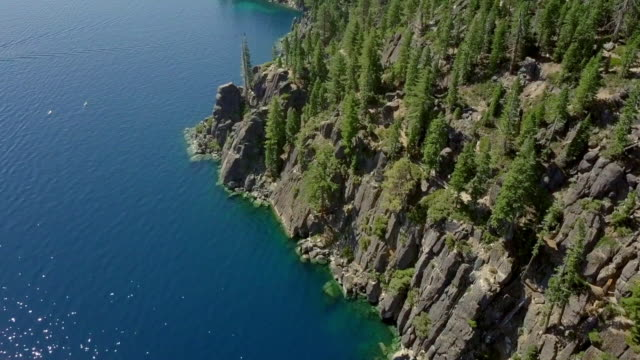 aerial: pine forest and rocky coastline of beautiful blue lake, lake tahoe, california - pinaceae stock videos & royalty-free footage