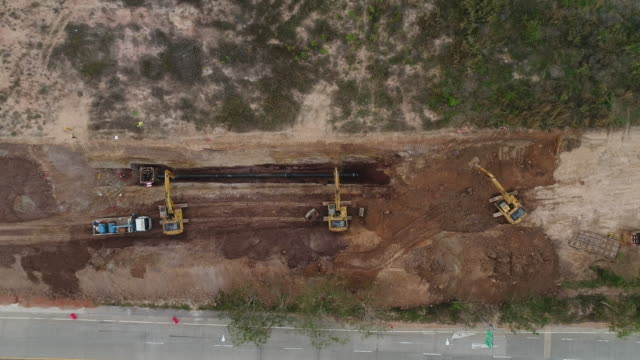 aerial: pipeline construction - pipeline stock videos and b-roll footage