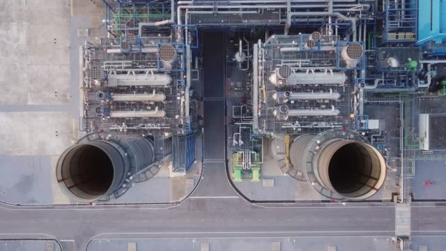 aerial pipes tanks at the refinery - cooling tower stock videos & royalty-free footage