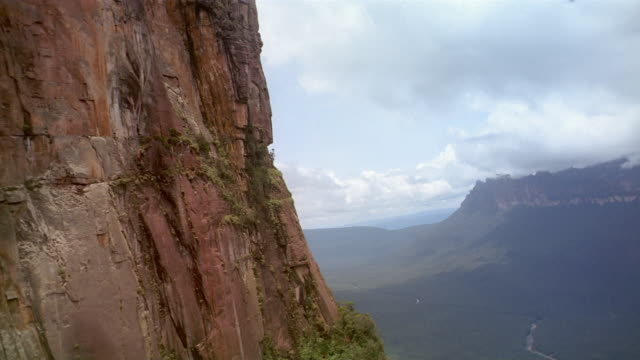 Aerial point of view along face of Auyun-tepui to Angel Falls at Canaima National Park / Venezuela