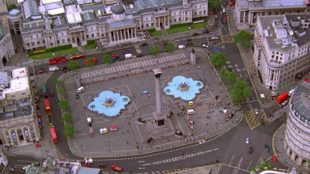 aerial point of view around nelson's column and national gallery in trafalgar square / london - nelson's column stock videos & royalty-free footage