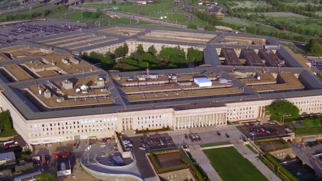 Aerial point of view around Pentagon building / Arlington, Virginia, near Washington D.C.