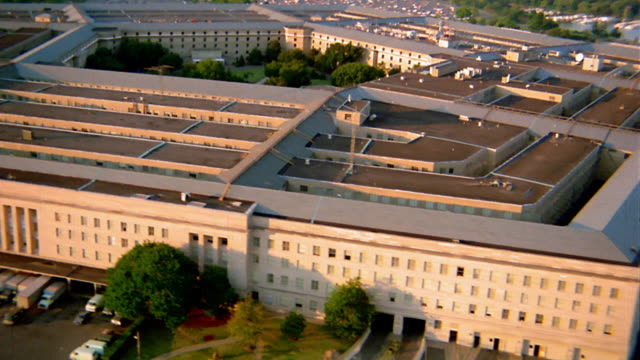 aerial point of view around pentagon building / arlington, virginia - the pentagon stock videos & royalty-free footage