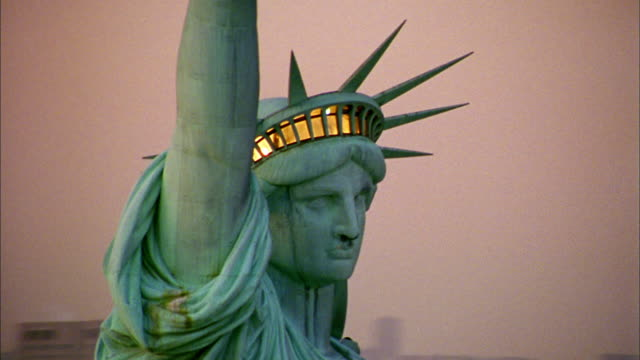 aerial point of view circling top of statue of liberty - statue of liberty new york city video stock e b–roll