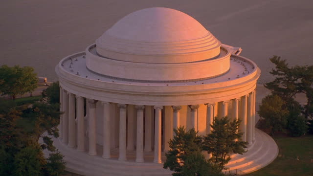 Aerial point of view Jefferson Memorial at sunset