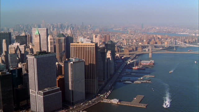 Aerial point of view Manhattan skyline and East River