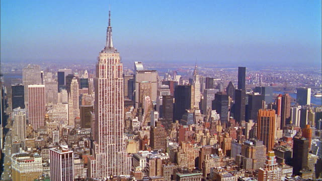 Aerial point of view midtown Manhattan w/Empire State Building and Chrysler Building