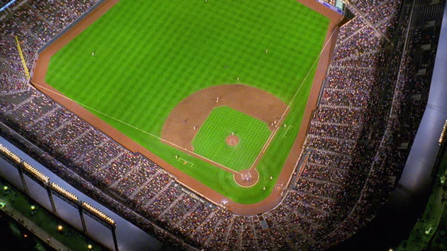 aerial point of view over camden yards during baltimore orioles baseball game at night / maryland - baseball diamond stock videos and b-roll footage