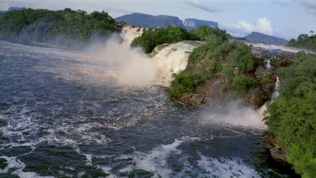 Aerial point of view over Canaima Lagoon to Hacha, Wadaima, Golondrina and Ucaima waterfalls / Venezuela