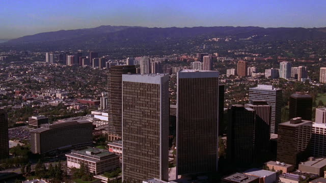 aerial point of view over century plaza towers in century city / los angeles - century city stock videos & royalty-free footage