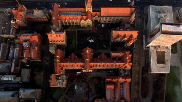 Aerial point of view over church and buildings / Manchester, England