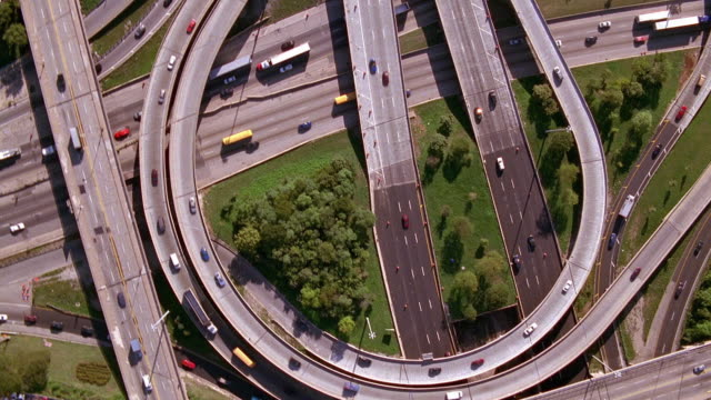 Aerial point of view over highway intersection of Eisenhower and Dan Ryan Expressways / Chicago, Illinois