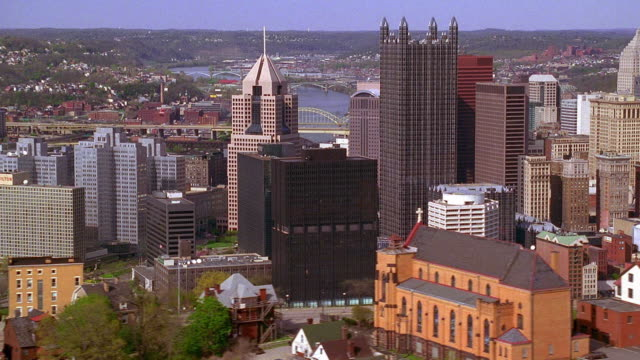 aerial point of view over mount washington and around downtown pittsburgh / pennsylvania - pittsburgh stock videos & royalty-free footage